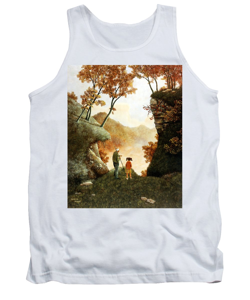 Mountain Tank Top featuring the painting Words Of Wisdom by Duane R Probus