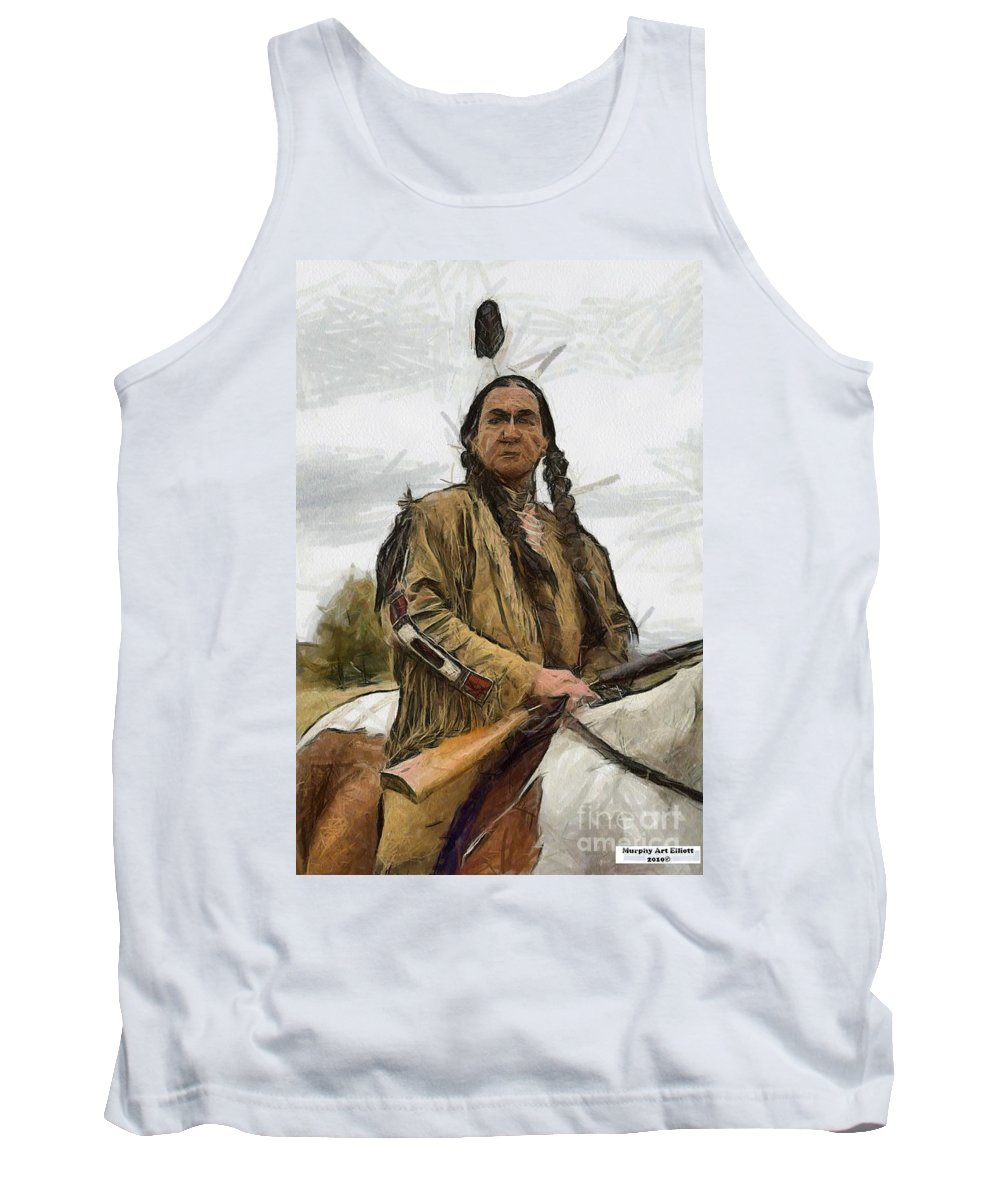 Portrait Tank Top featuring the painting Wounded Knee by Murphy Elliott