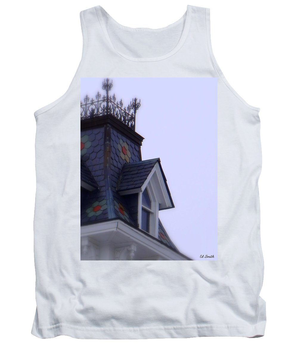 Wrought Iron Antique Roof Top Tank Top featuring the photograph Wrought Iron Roof Top by Ed Smith