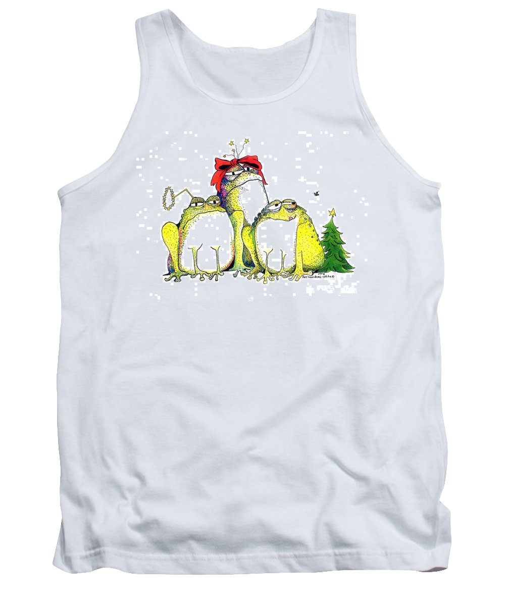 Christmas Card Tank Top featuring the greeting card Xmas Bows by Pat Saunders-White
