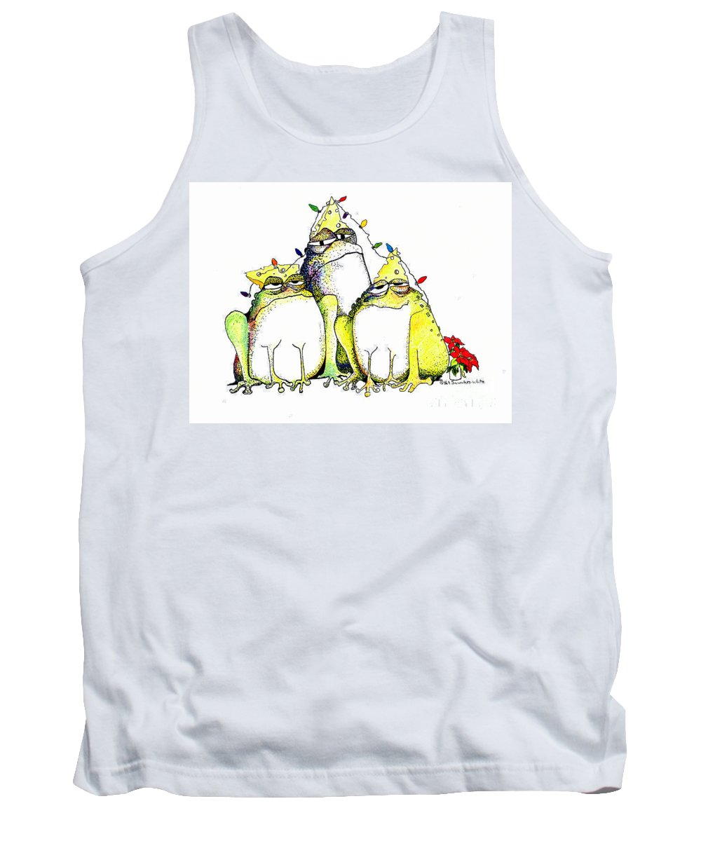 Christmas Card Tank Top featuring the greeting card Xmas Lights by Pat Saunders-White