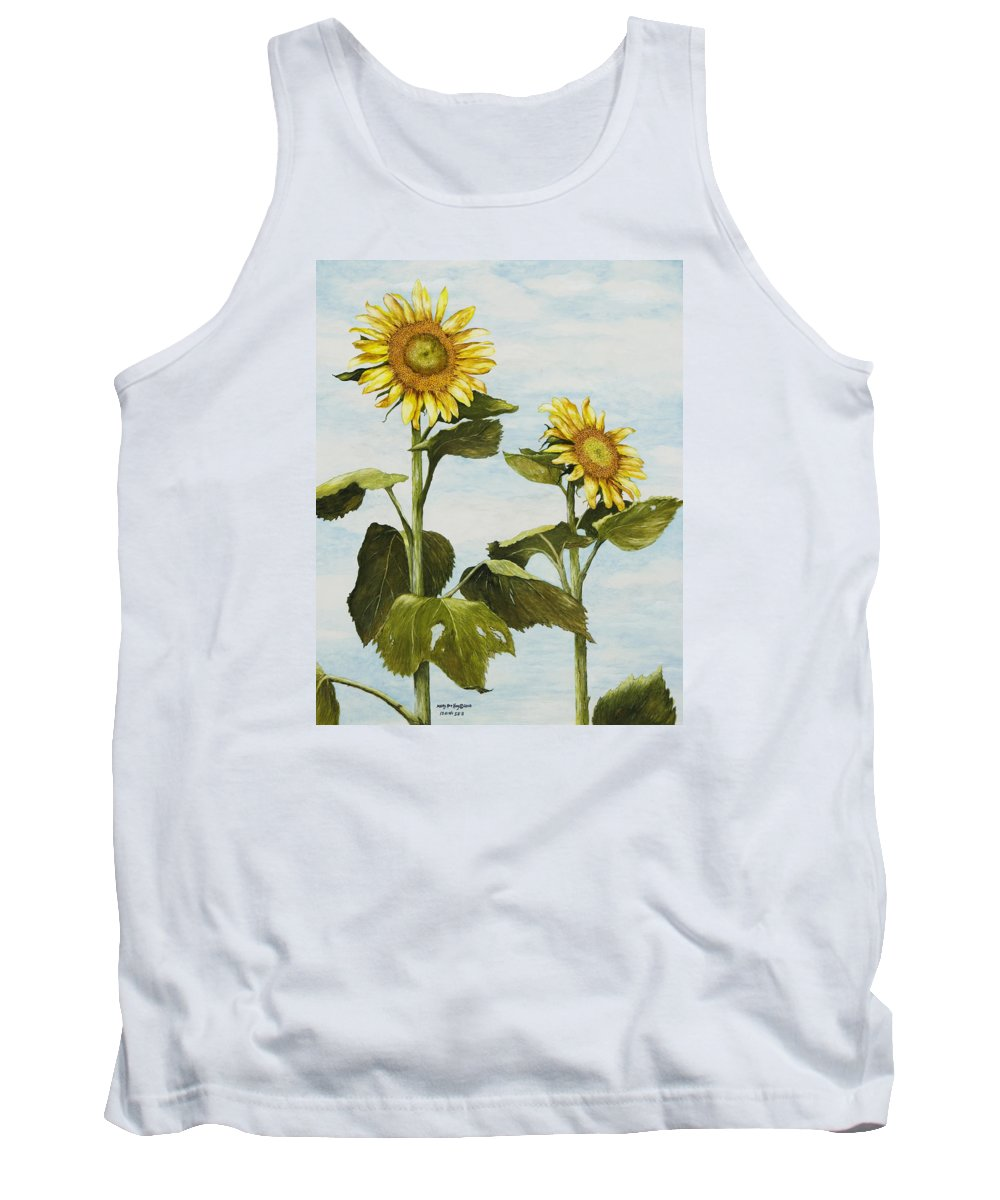 Yellow Sunflower Watercolor Painting Tank Top featuring the painting Yana's Sunflowers by Mary Ann King