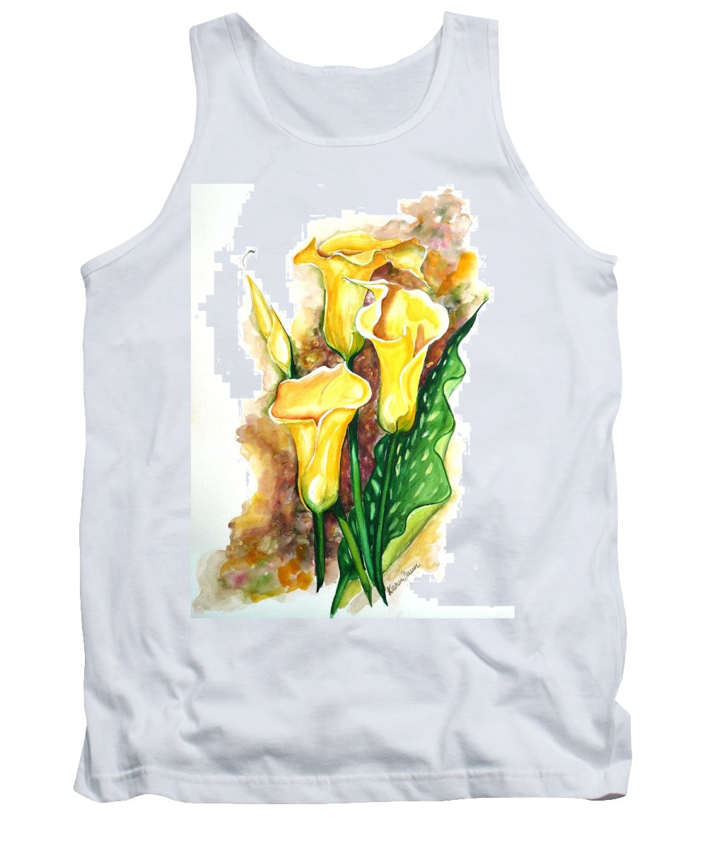 Flower Paintings Floral Paintings `yellow Flower Paintings  Lily Paintings Calla Lily Paintings  Botanical Paintings Greeting Card Paintings Canvas Print Paintings Poster Print Paintings Tank Top featuring the painting Yellow Callas by Karin Dawn Kelshall- Best