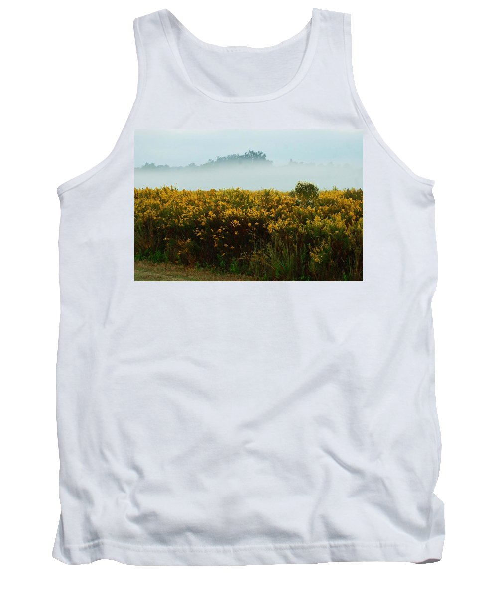 Pelican Tank Top featuring the digital art Yellow Field And The Fog by Michael Thomas