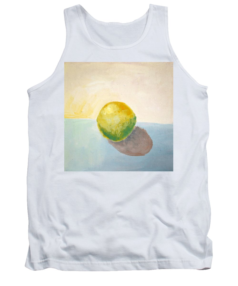 Lemon Tank Top featuring the painting Yellow Lemon Still Life by Michelle Calkins