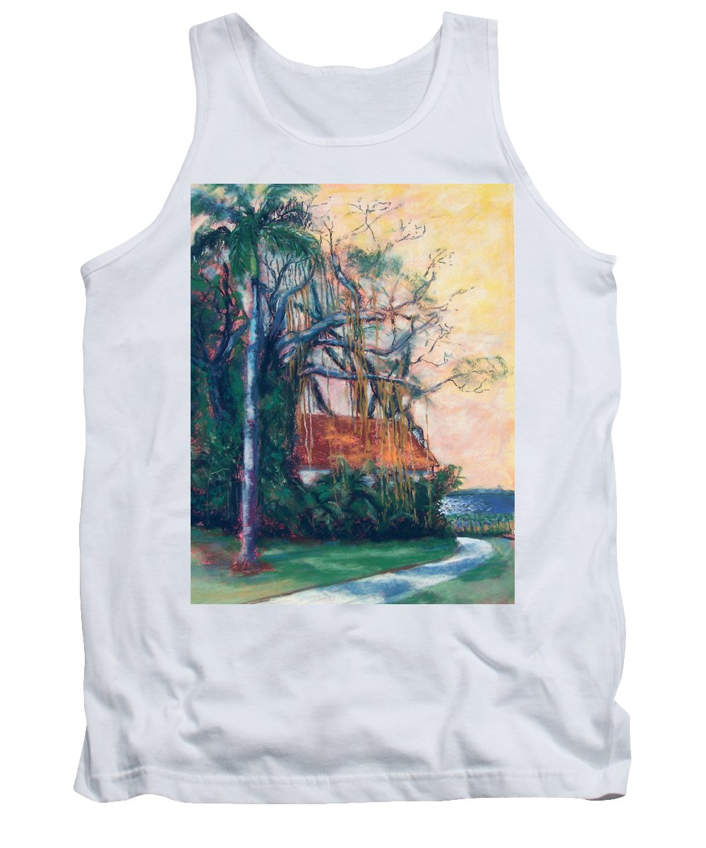Edison Tank Top featuring the painting Yellow Sky At Edison Winter Estate by Laurie Paci