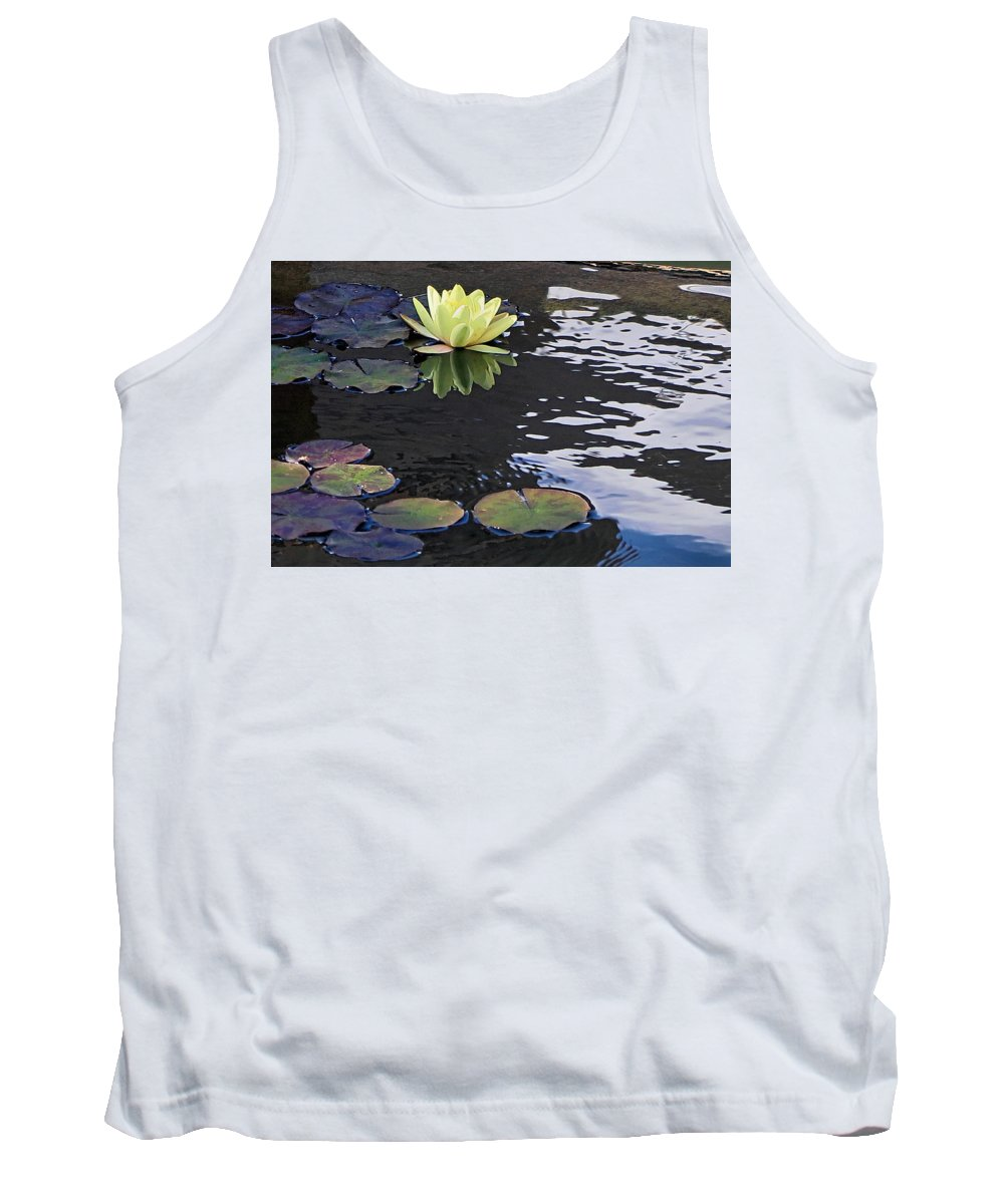 Yellow Tank Top featuring the photograph Yellow Water Lily by Hazel Vaughn