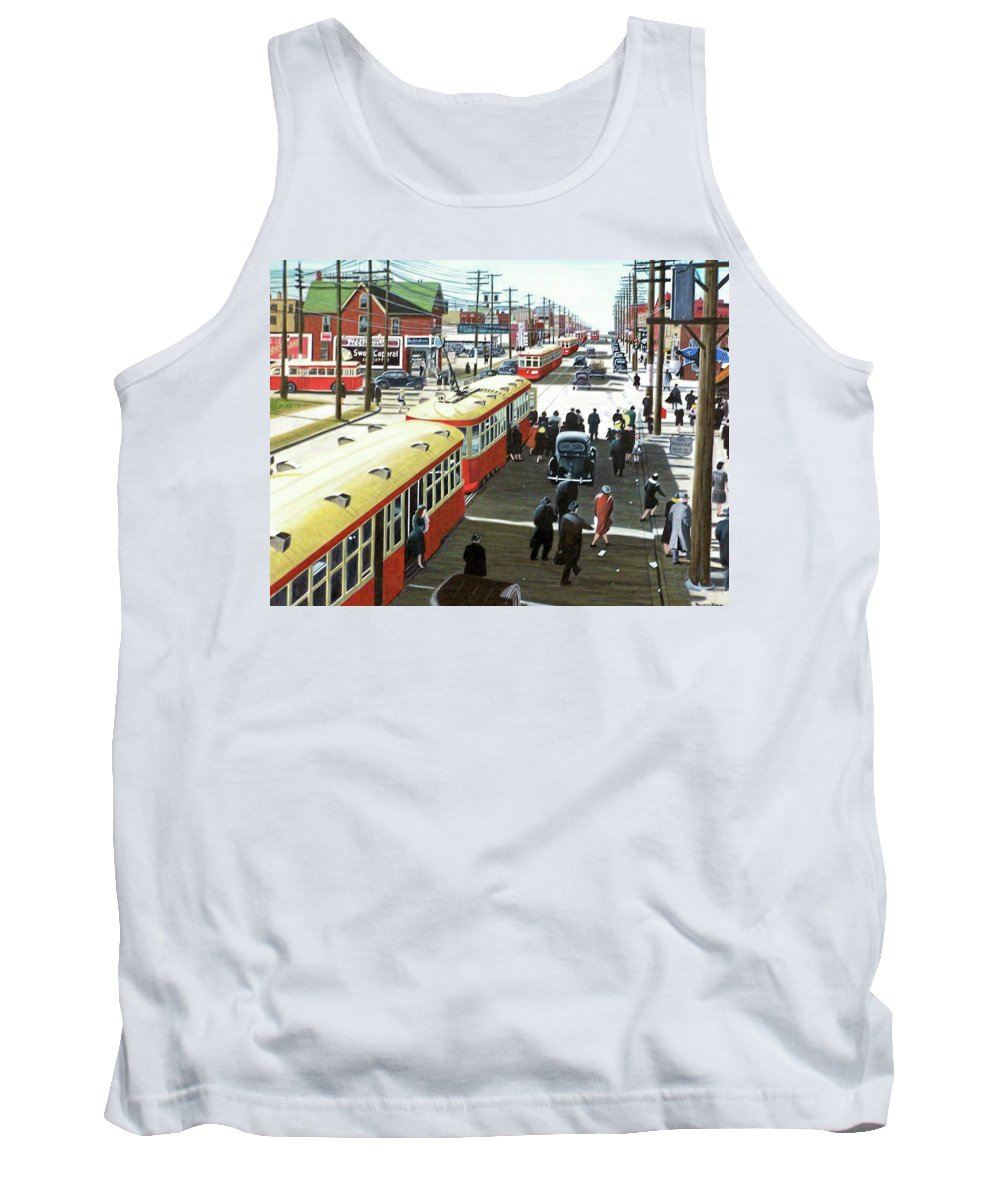 Historic Toronto Tank Top featuring the painting Yonge And Eglinton 1944 by Kenneth M Kirsch