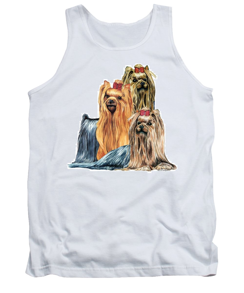 Yorkshire Terrier Tank Top featuring the drawing Yorkshire Terriers by Kathleen Sepulveda