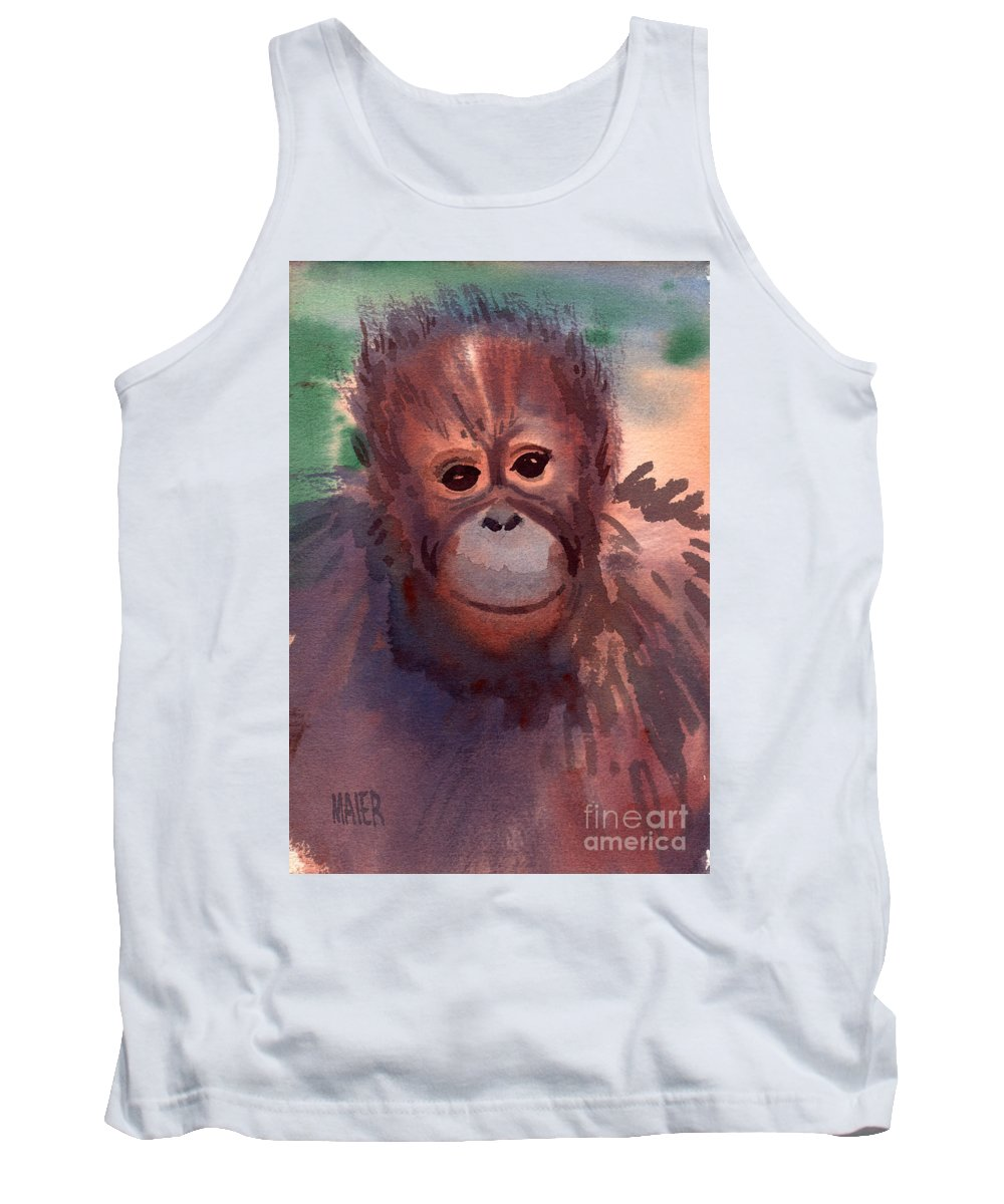 Orangutans Tank Top featuring the painting Young Orangutan by Donald Maier
