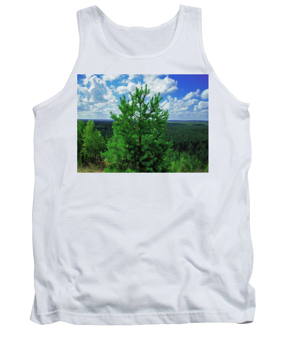 Landscape Tank Top featuring the photograph Young Pine by Maxim Mazur