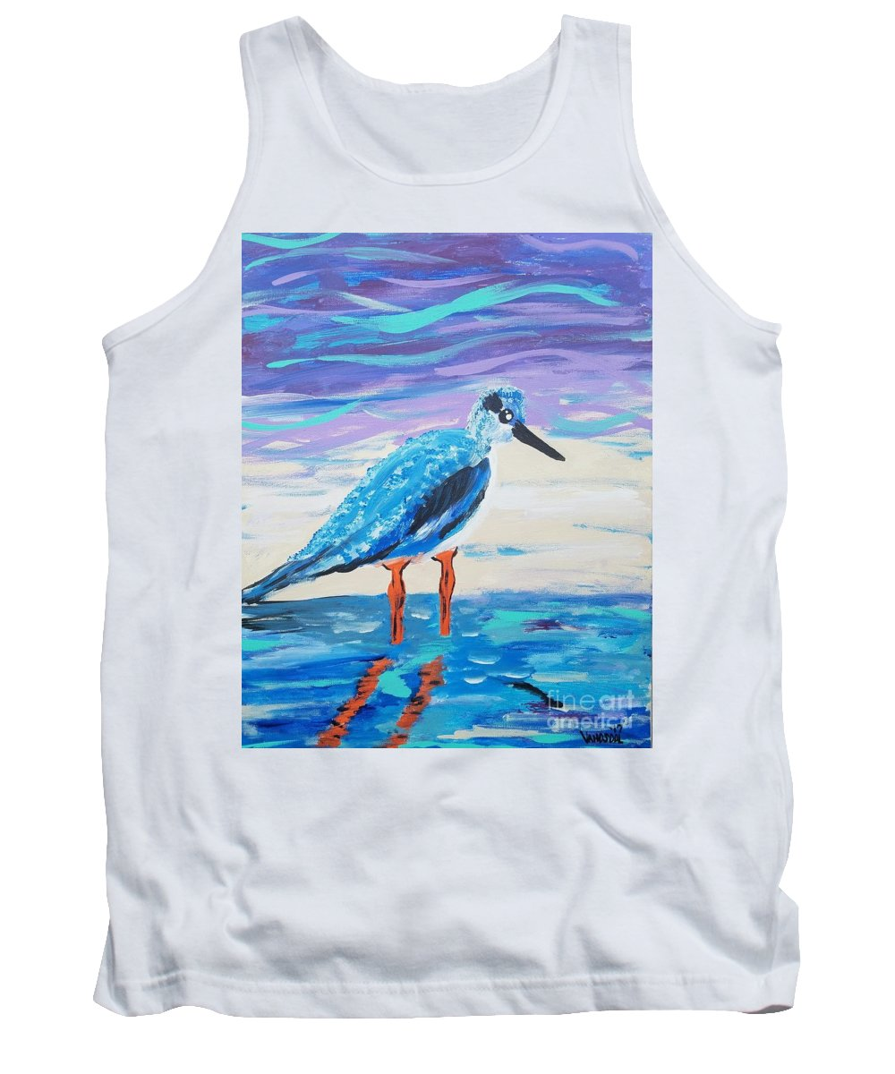 Young Tank Top featuring the painting Young Seagull Coastal Abstract by Scott D Van Osdol