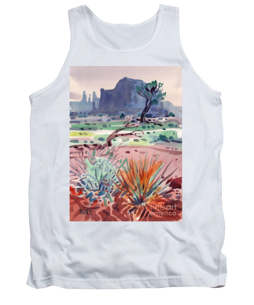 Monument Valley Tank Top featuring the painting Yucca And Buttes by Donald Maier