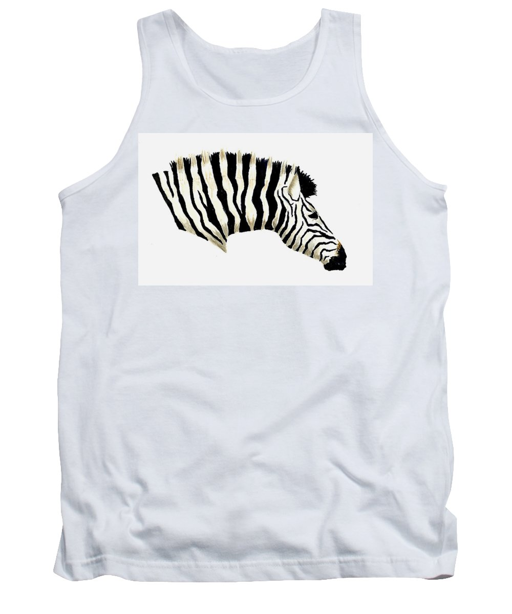 Zebra Tank Top featuring the painting Zebra by Michael Vigliotti