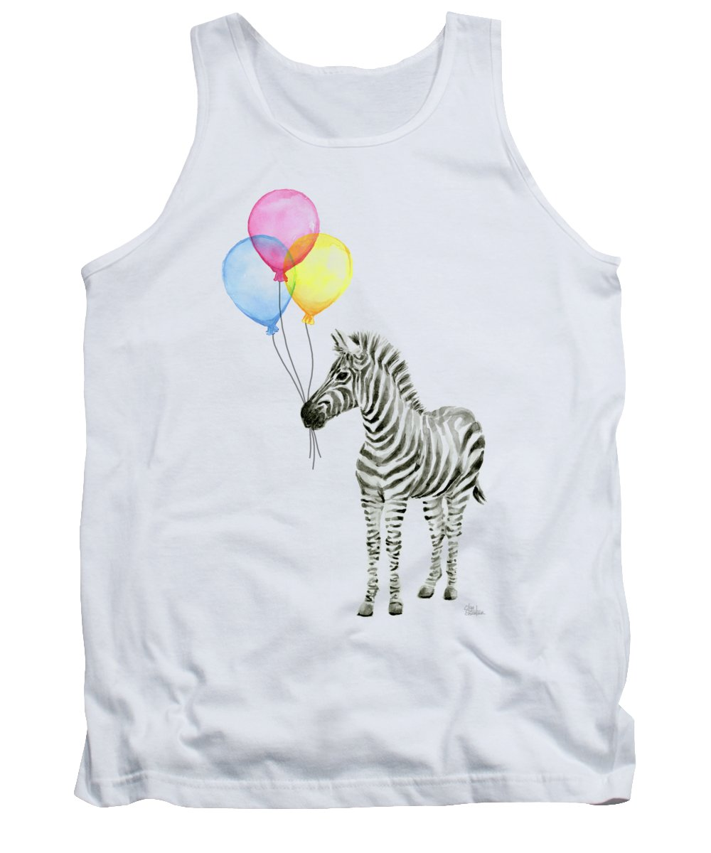 Zebra Tank Top featuring the painting Zebra Watercolor With Balloons by Olga Shvartsur