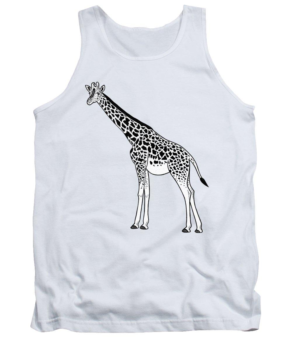 Giraffe Tank Top featuring the drawing Giraffe - Ink Illustration by Loren Dowding