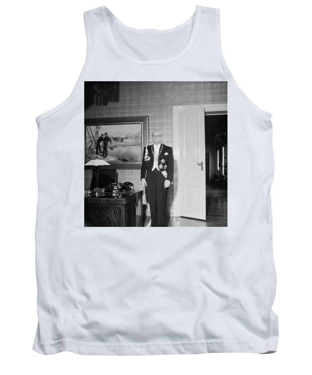 Man Tank Top featuring the painting In The Photo The New President Of The Republic Urho Kekkonen Is Photographed At The Presidential Pa by Celestial Images