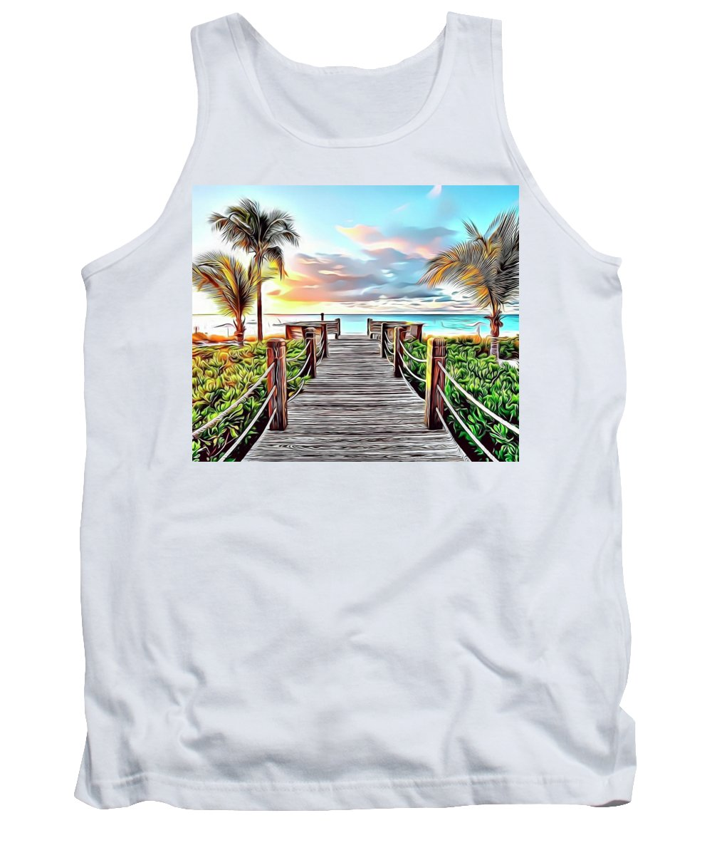 Paradise Tank Top featuring the digital art 1 Paradise Pier by Russ Carts