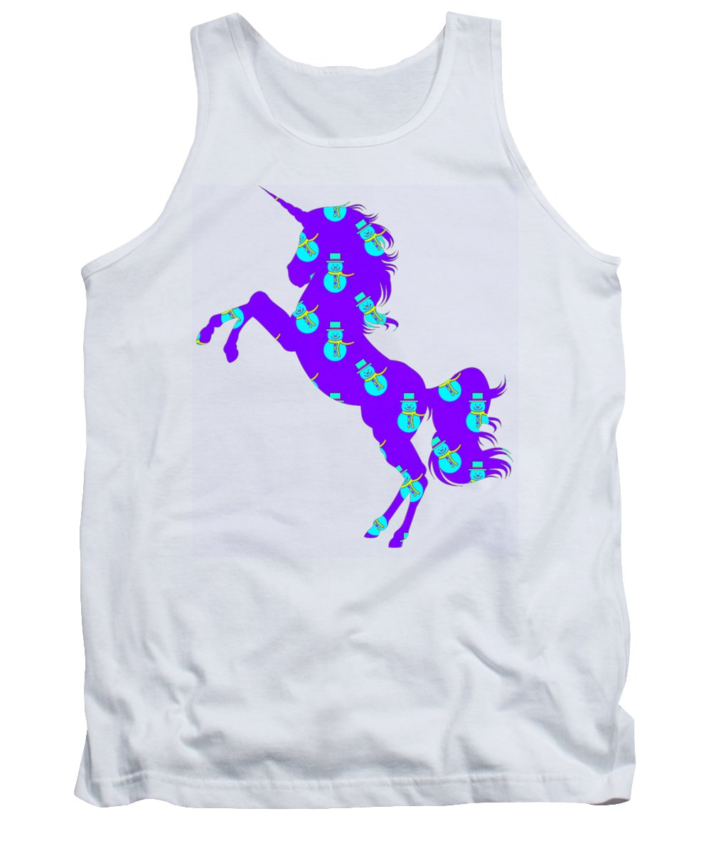 Baby-girl Tank Top featuring the digital art Snowman Wrapping Paper Unicorn by Kaylin Watchorn