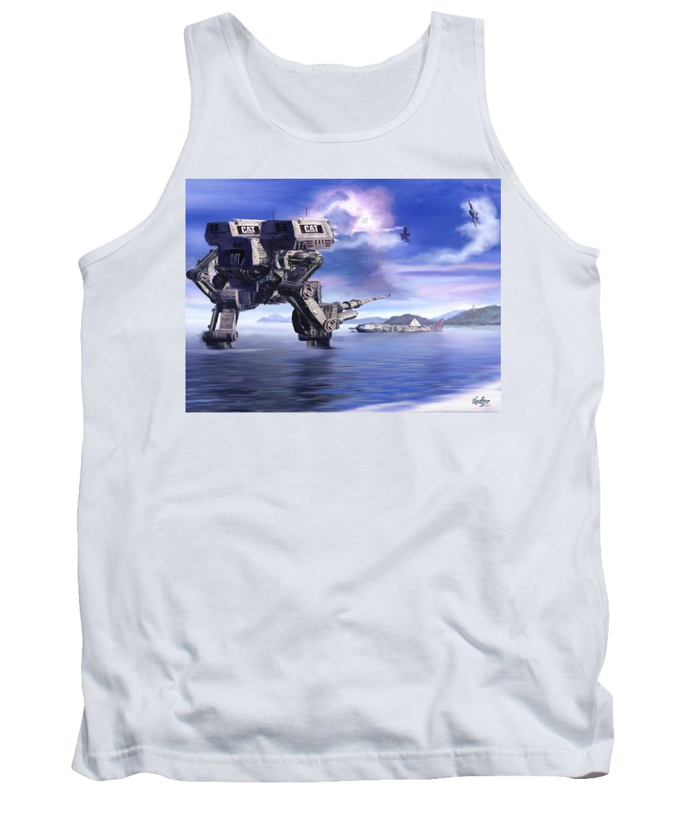 Science Fiction Tank Top featuring the mixed media 501st Mech Defender by Curtiss Shaffer