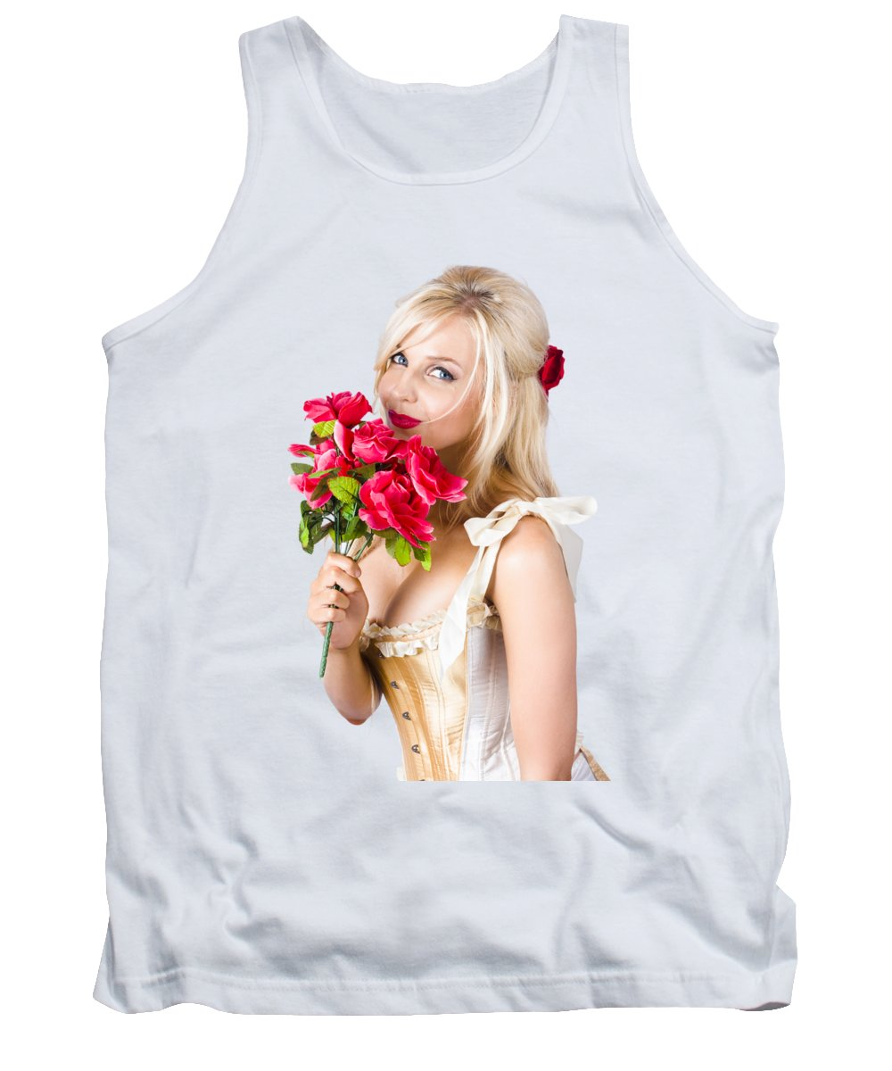 Romantic Tank Top featuring the photograph Adorable Florist Woman Smelling Red Flowers by Jorgo Photography - Wall Art Gallery