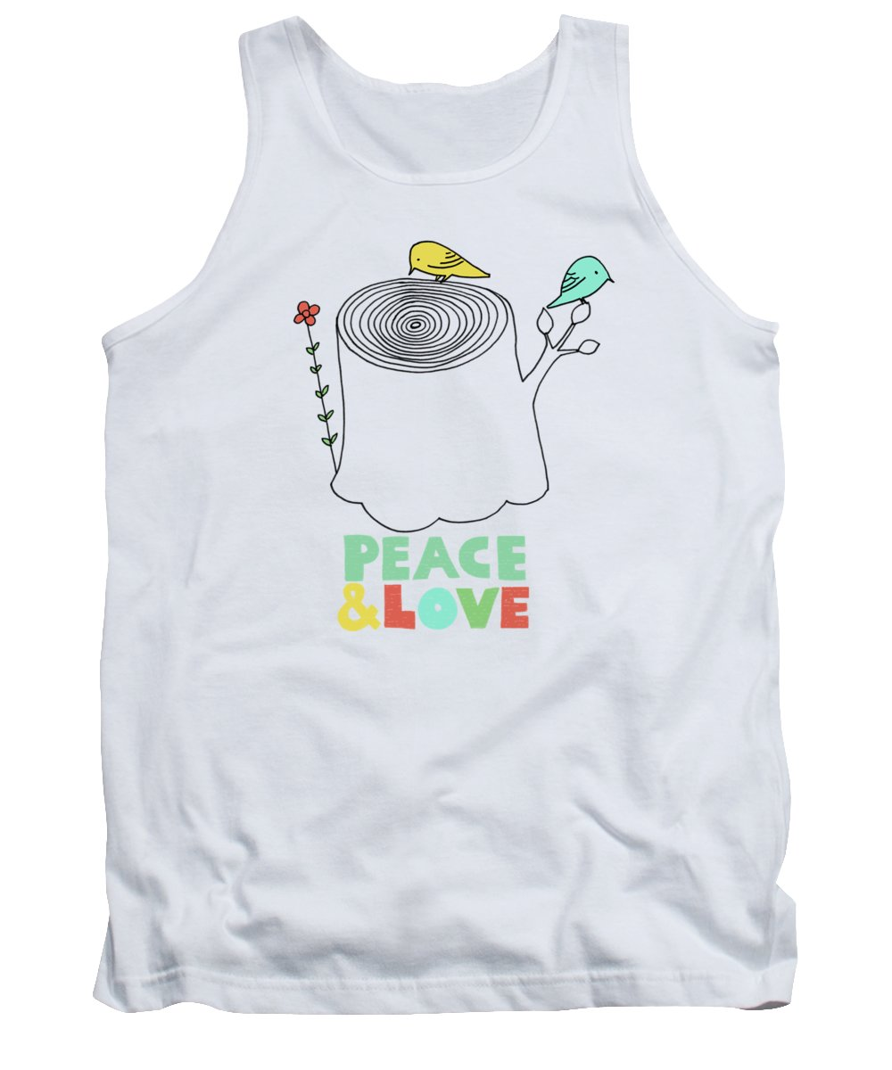 Birds Tank Top featuring the drawing Peace and Love by Eric Fan