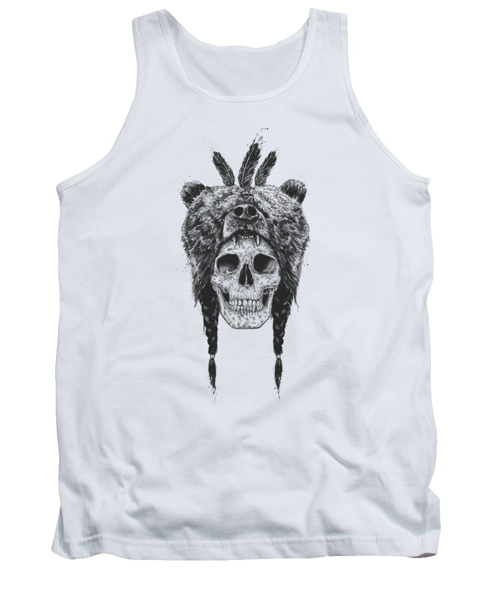 Skull Tank Top featuring the mixed media Dead shaman by Balazs Solti