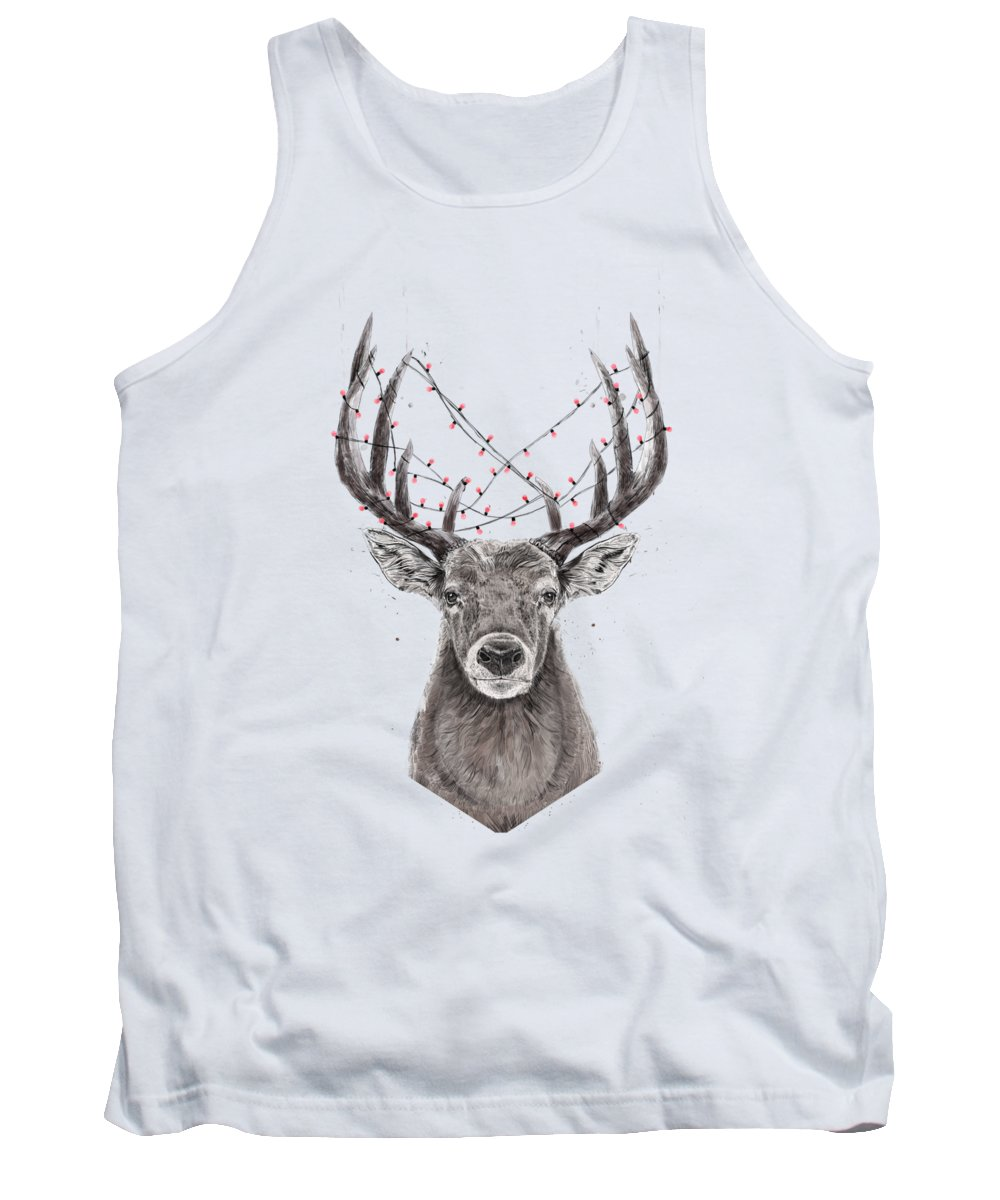Deer Tank Top featuring the drawing Xmas deer II by Balazs Solti