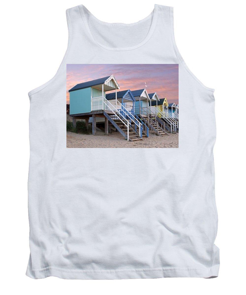 Beach Huts Tank Top featuring the photograph Beach Huts Sunset by Gill Billington