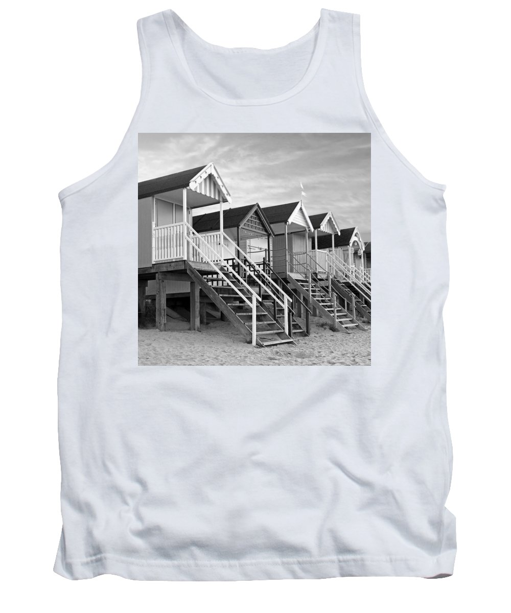 Beach Huts Tank Top featuring the photograph Beach Huts Sunset In Black And White Square by Gill Billington