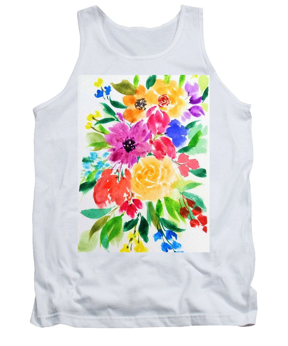 Watercolor Tank Top featuring the painting Bunch Of Flowers by Shweta Saxena