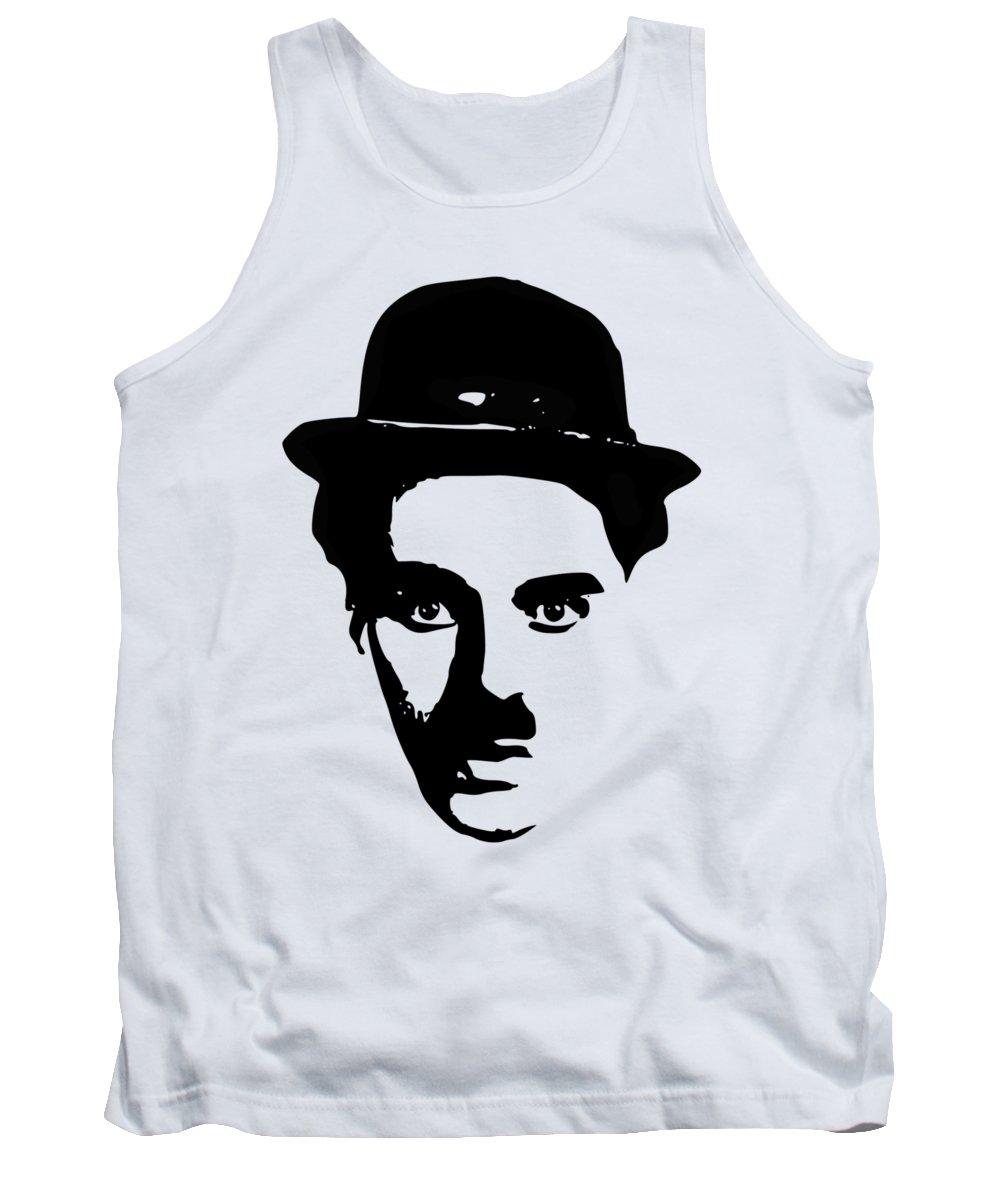 Charlie Chaplin Tank Top featuring the digital art Charlie Chaplin Minimalistic Pop Art by Filip Hellman