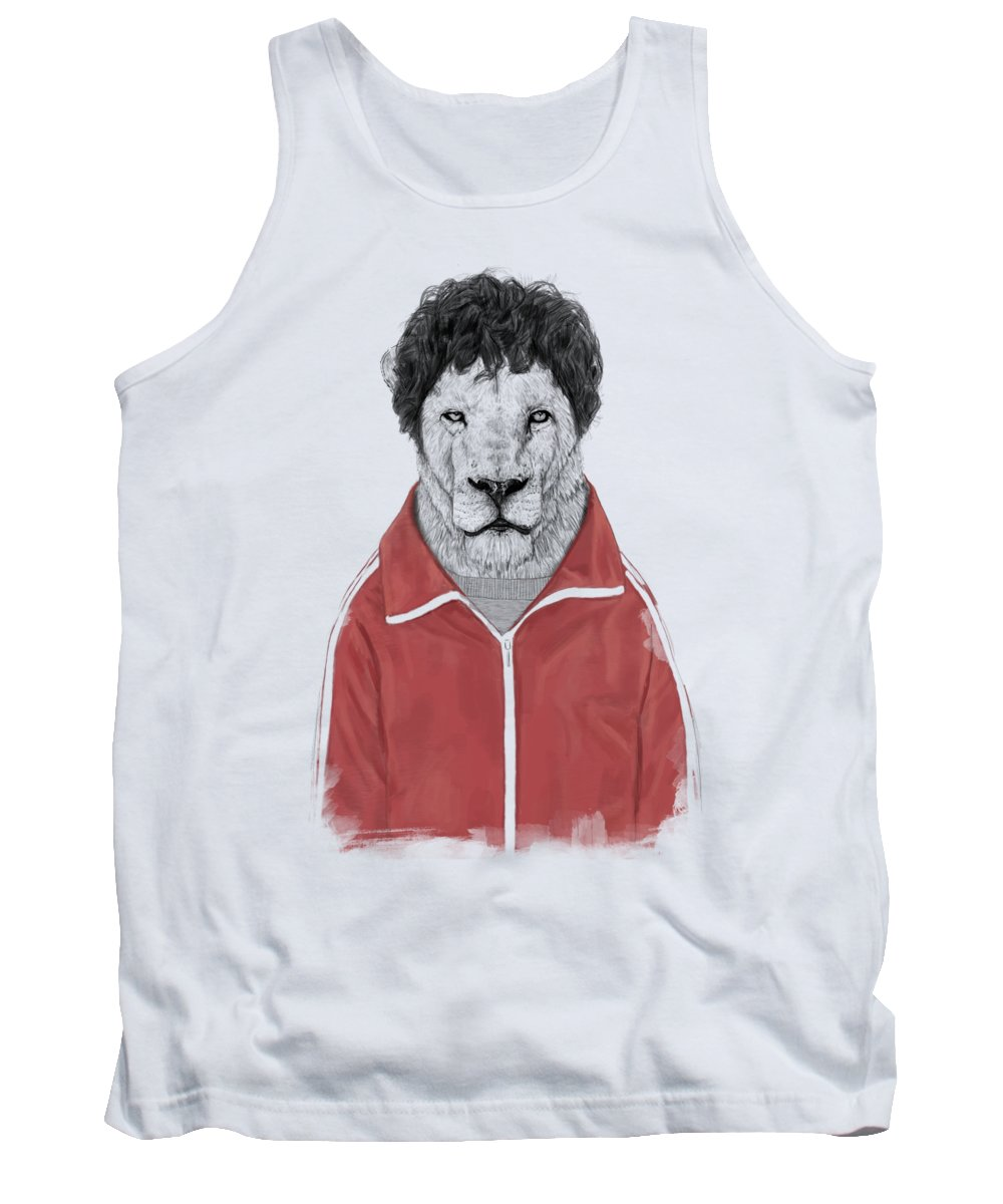 Lion Tank Top featuring the drawing Chas by Balazs Solti