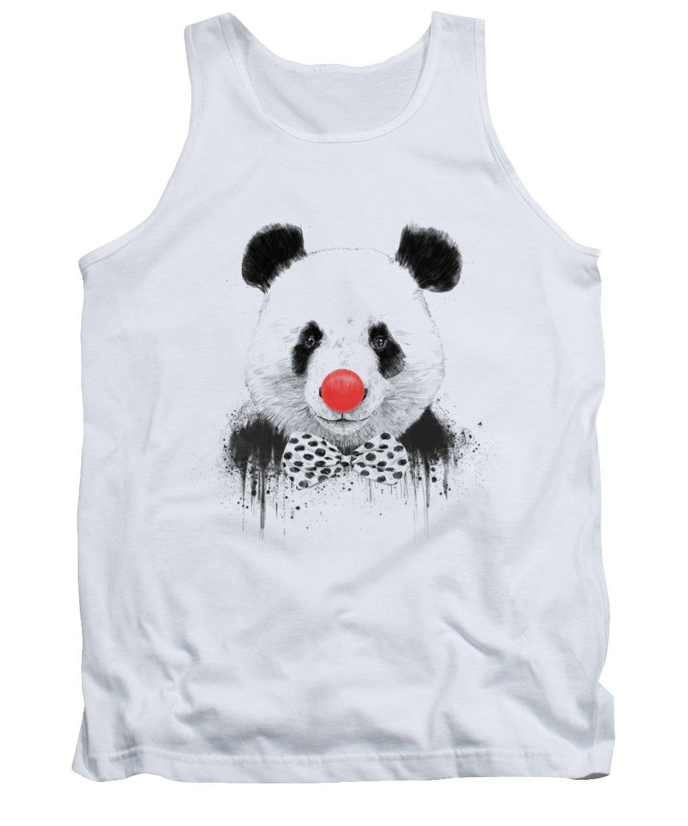 Panda Tank Top featuring the mixed media Clown panda by Balazs Solti