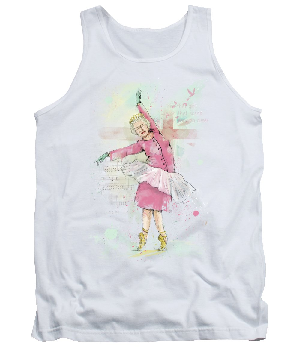 Queen Tank Top featuring the mixed media Dancing queen by Balazs Solti