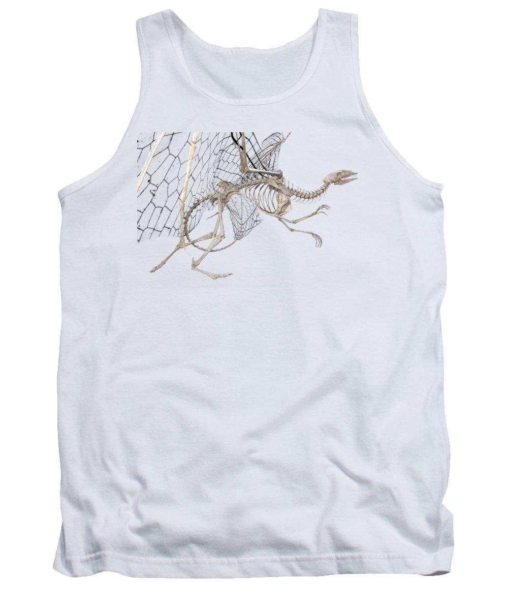 Dragon Tank Top featuring the digital art Dragon Skeleton by Betsy Knapp