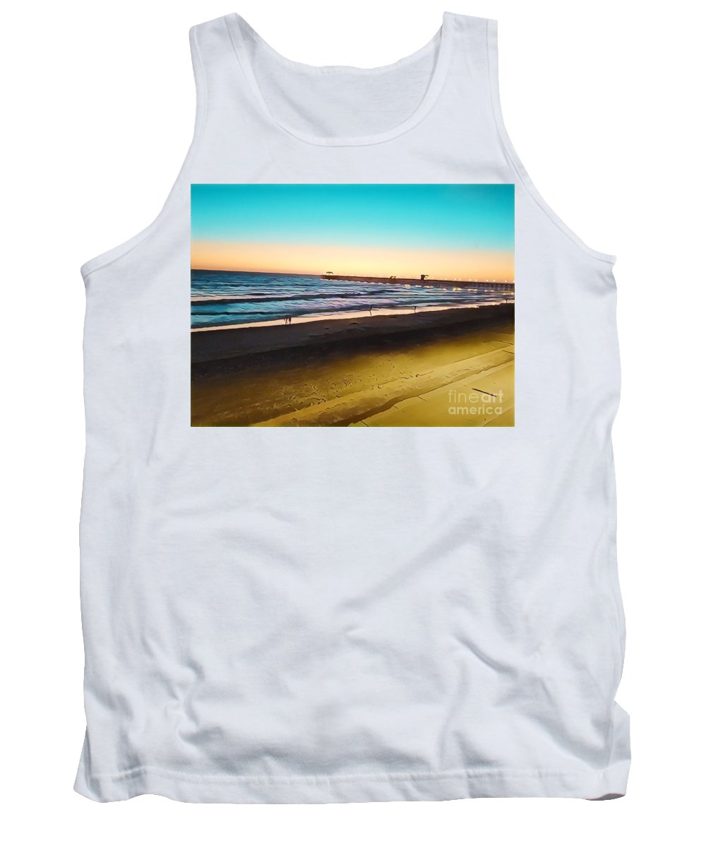 Ocean Dusk Seaside Sea Pacific Ocean Sothern California The Strand Sunset Ocean Sunset California Southern Pacific Ocean Gold Blue Turquoise Tank Top featuring the mixed media Dusk On The Strand by Tammera Malicki-Wong