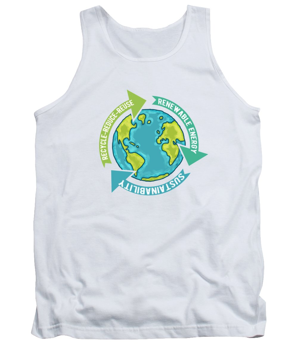 Earth Sustainability Tank Top featuring the digital art Earth Sustainability by Laura Ostrowski