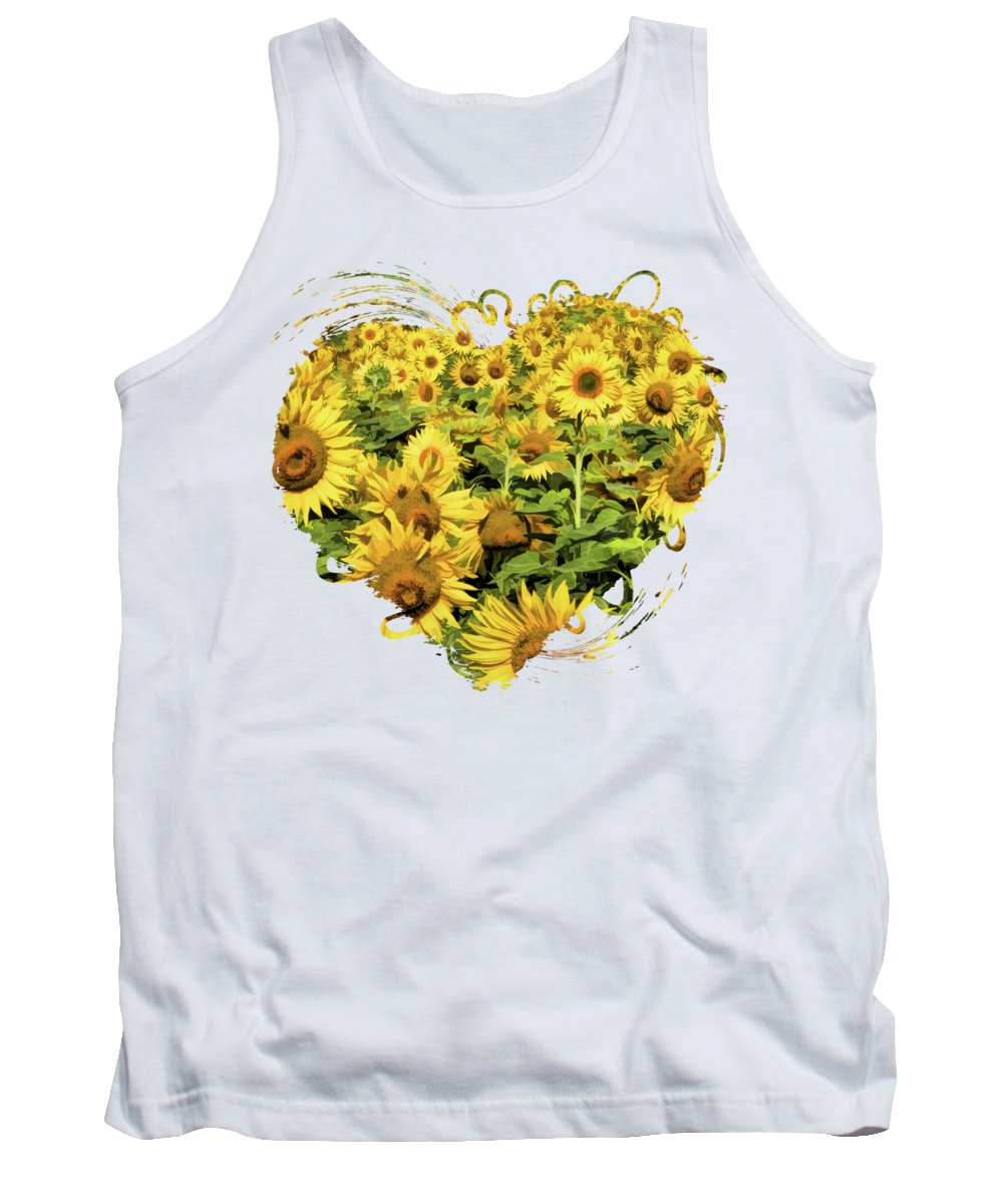 Door County Tank Top featuring the painting Field Of Sunflowers by Christopher Arndt