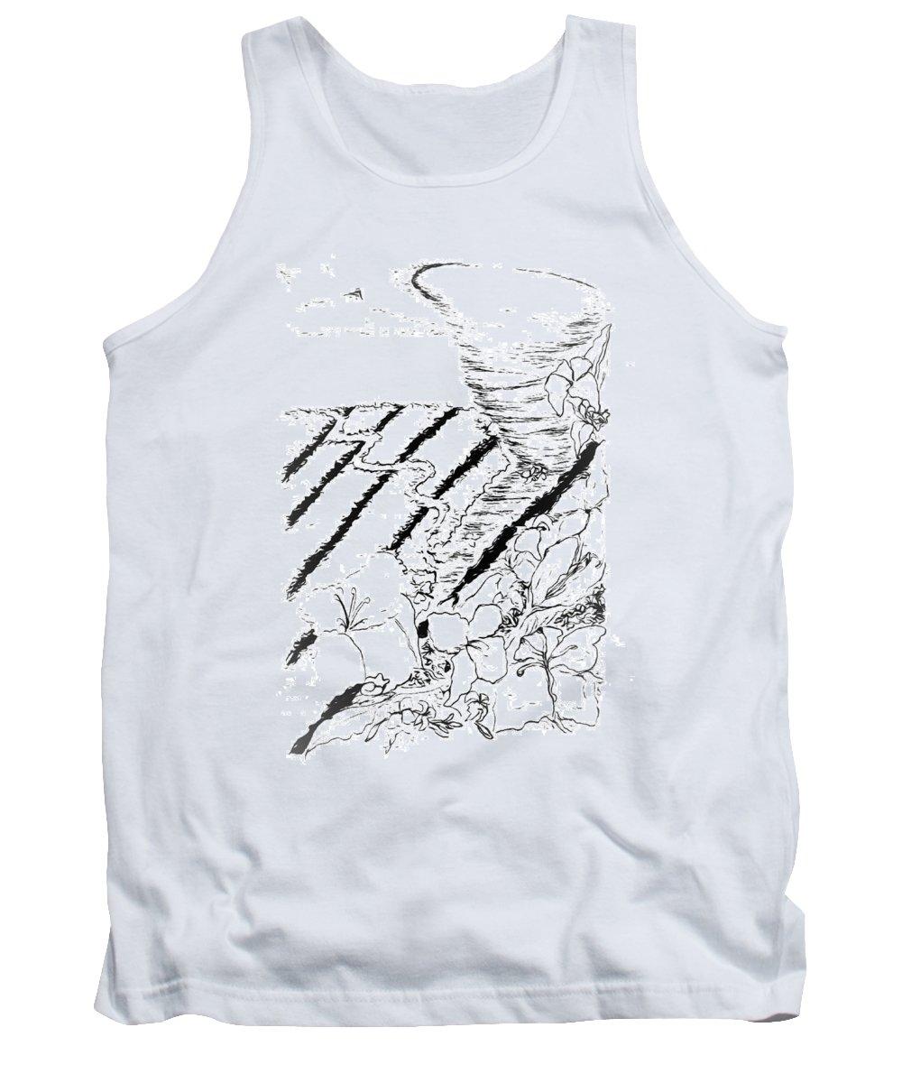 Digital Art Tank Top featuring the drawing Flower Farmers Tornado Paint My Sketch by Delynn Addams