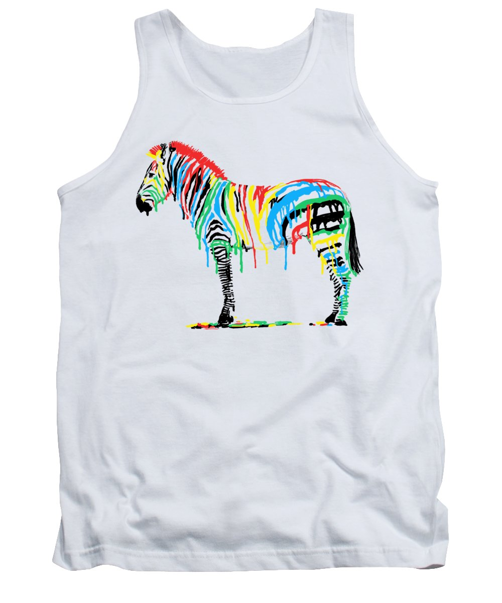 Zebra Tank Top featuring the drawing Fresh Paint by Eric Fan