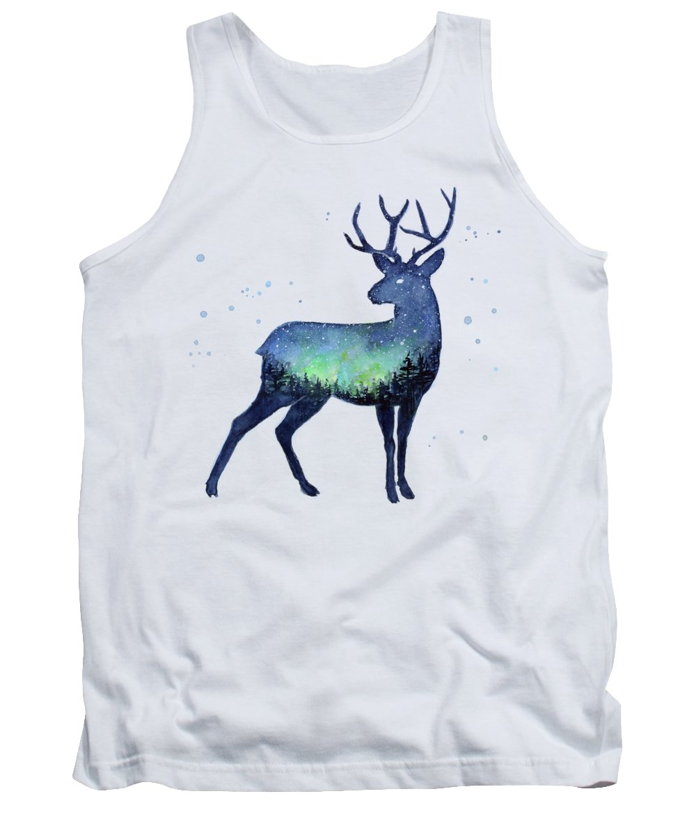 Reindeer Tank Top featuring the painting Galaxy Reindeer Silhouette by Olga Shvartsur