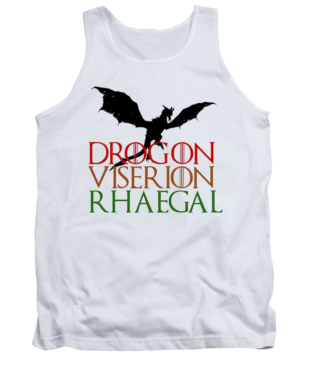 Game Of Thrones Daenerys Targarygen House Targaryen Got A Song Of Ice And Fire George R R Martin Books Shows Tv Show Game Of Thrones Font Daenerys Dragons Fantasy Westeros Tank Top featuring the digital art Game Of Thrones by Darven Sarpeye