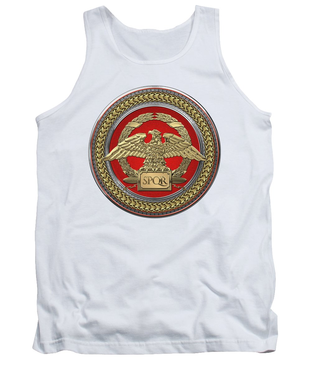 'treasures Of Rome' Collection By Serge Averbukh Tank Top featuring the digital art Gold Roman Imperial Eagle Over Red Gold And Silver Medallion On White Leather by Serge Averbukh