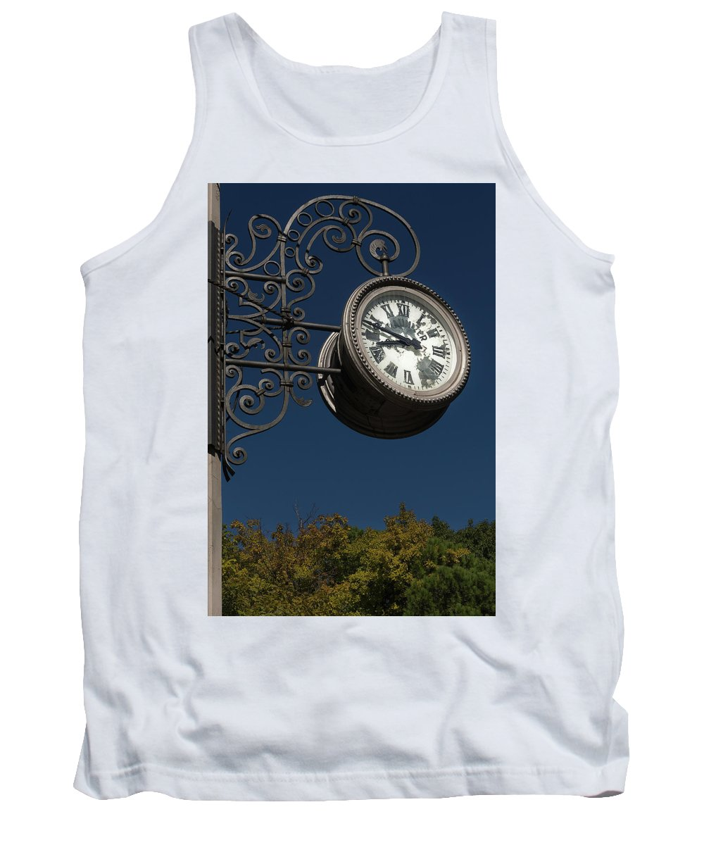 Clock Tank Top featuring the photograph Hanging Clock by Wolfgang Stocker