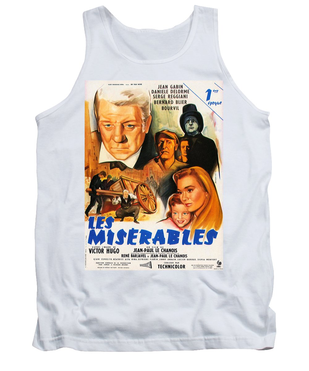 Les Miserables Tank Top featuring the mixed media Les Miserables 1958 French Movie Classic by Zal Latzkovich