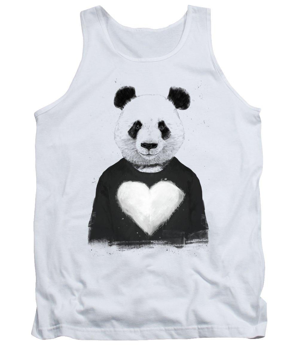 Panda Tank Top featuring the mixed media Lovely panda by Balazs Solti