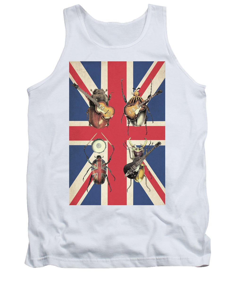 Flag Tank Top featuring the drawing Meet the Beetles - Union Jack by Eric Fan