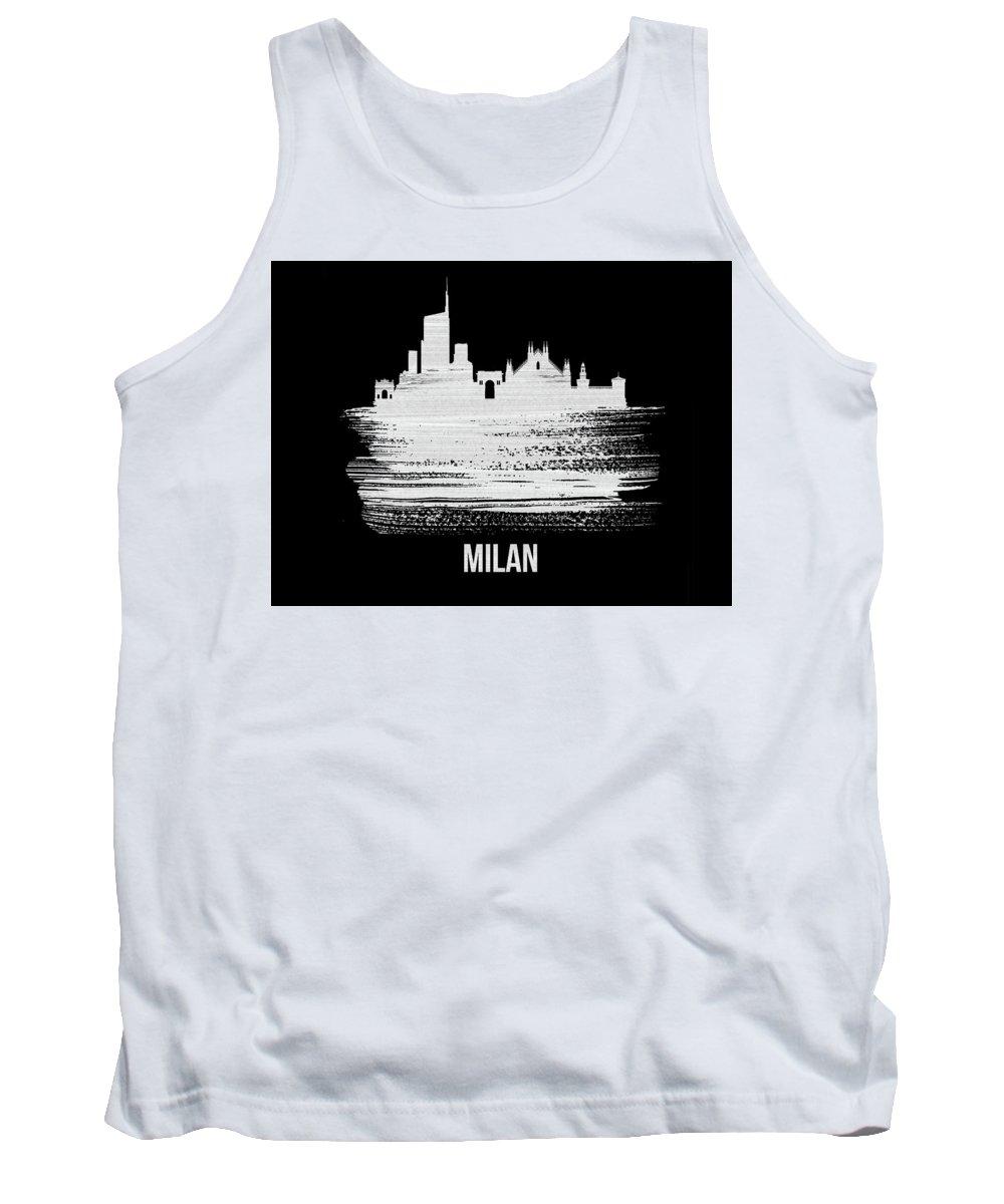 Milan Tank Top featuring the mixed media Milan Skyline Brush Stroke White by Naxart Studio