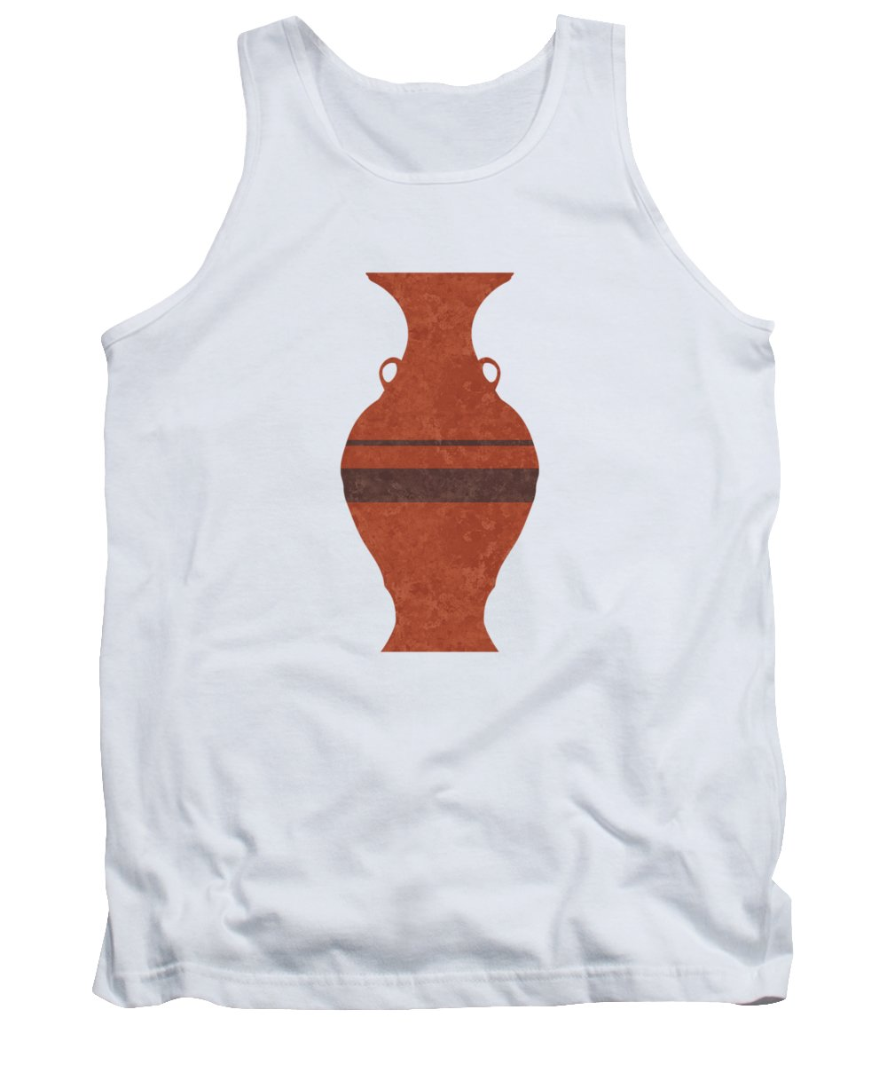Abstract Tank Top featuring the mixed media Minimal Abstract Greek Vase 11 - Hydria - Terracotta Series - Modern, Contemporary Print - Brown by Studio Grafiikka